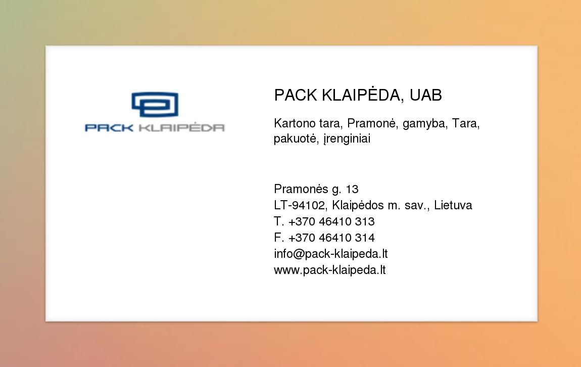 Pack Klaipėda Uab Virtuali Vizitinė Kortelė